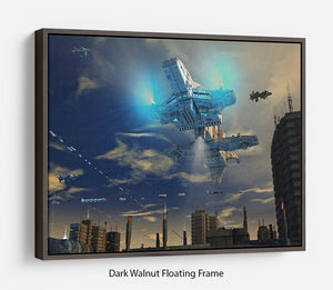 Spaceship UFO and City Floating Frame Canvas