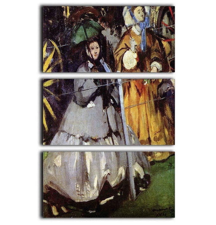 Spectators at the races by Manet 3 Split Panel Canvas Print