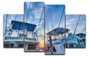 Sportfishing boats at Marina early morning 4 Split Panel Canvas  - Canvas Art Rocks - 1