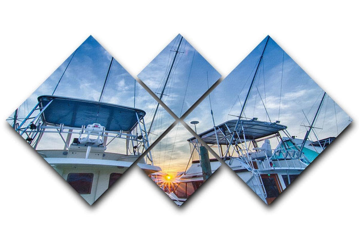 Sportfishing boats at Marina early morning 4 Square Multi Panel Canvas