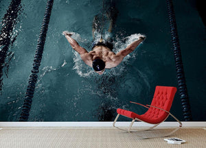 Sportsman swims Wall Mural Wallpaper - Canvas Art Rocks - 2