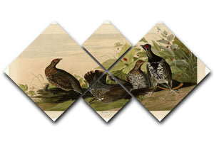 Spotted Grouse by Audubon 4 Square Multi Panel Canvas - Canvas Art Rocks - 1