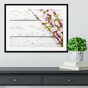 Spring flowering branch on white wooden Framed Print - Canvas Art Rocks - 1