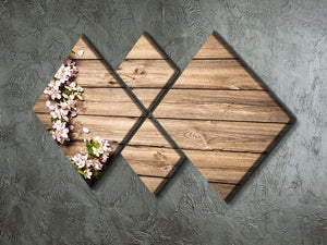 Spring flowering branch on wooden background 4 Square Multi Panel Canvas  - Canvas Art Rocks - 2