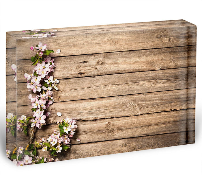 Spring flowering branch on wooden background Acrylic Block