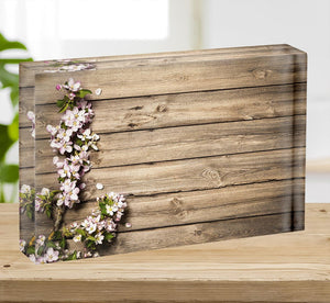 Spring flowering branch on wooden background Acrylic Block - Canvas Art Rocks - 2