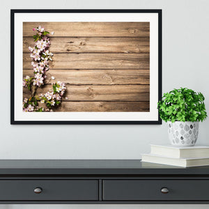 Spring flowering branch on wooden background Framed Print - Canvas Art Rocks - 1