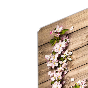 Spring flowering branch on wooden background HD Metal Print
