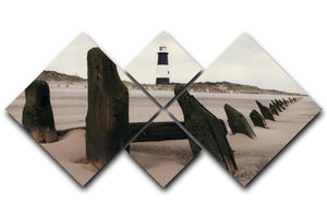 Spurn Point Lighthouse 4 Square Multi Panel Canvas - Canvas Art Rocks - 1