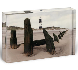 Spurn Point Lighthouse Acrylic Block - Canvas Art Rocks - 1
