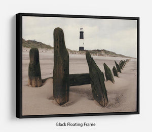 Spurn Point Lighthouse Floating Frame Canvas - Canvas Art Rocks - 1