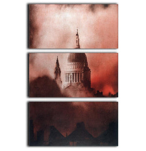St Pauls Survives in colour 3 Split Panel Canvas Print - Canvas Art Rocks - 1