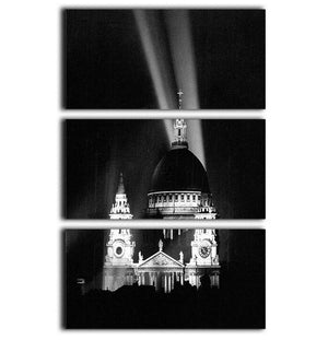 St Pauls floodlight on VE Day 3 Split Panel Canvas Print - Canvas Art Rocks - 1