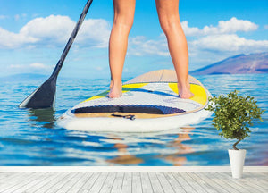 Stand Up Paddle Surfing In Hawaii Wall Mural Wallpaper - Canvas Art Rocks - 4