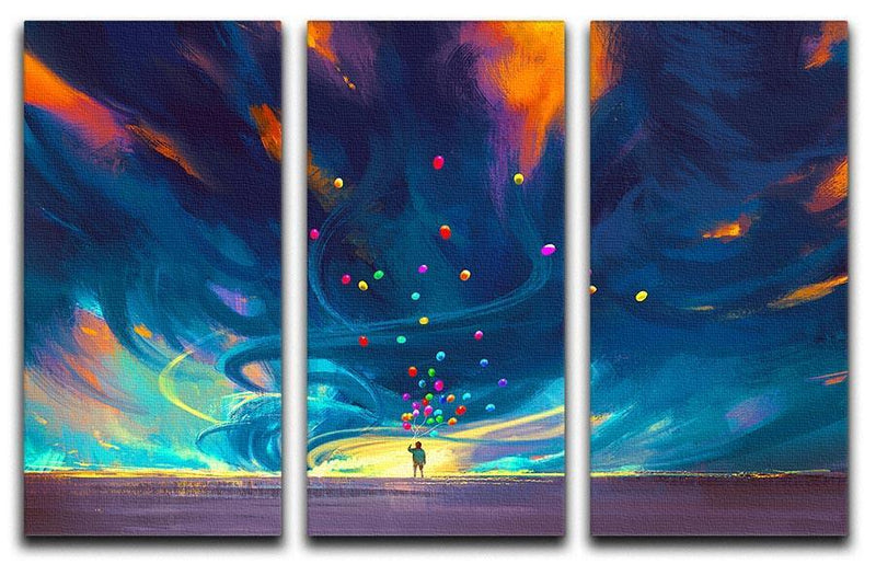 Standing in front of fantasy storm 3 Split Panel Canvas Print - Canvas Art Rocks - 1