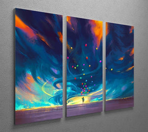 Standing in front of fantasy storm 3 Split Panel Canvas Print - Canvas Art Rocks - 2