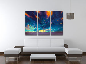 Standing in front of fantasy storm 3 Split Panel Canvas Print - Canvas Art Rocks - 3