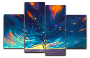 Standing in front of fantasy storm 4 Split Panel Canvas  - Canvas Art Rocks - 1
