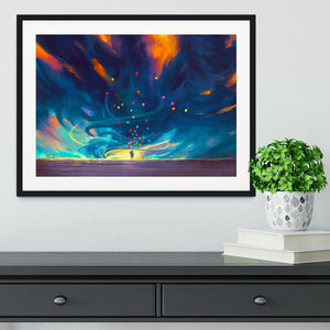 Standing in front of fantasy storm Framed Print - Canvas Art Rocks - 1
