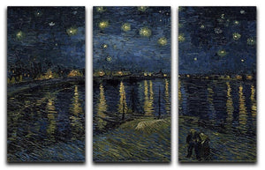 Starry Night over the Rhone 3 Split Panel Canvas Print - Canvas Art Rocks - 1