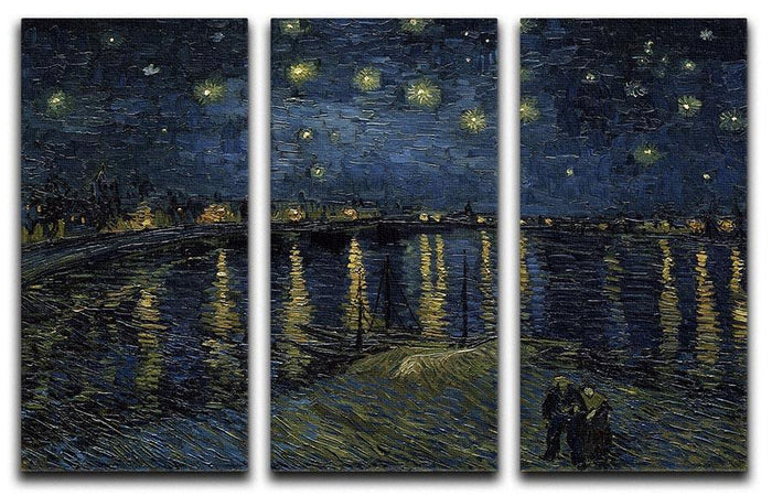 Starry Night over the Rhone 3 Split Panel Canvas Print