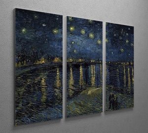 Starry Night over the Rhone 3 Split Panel Canvas Print - Canvas Art Rocks - 2