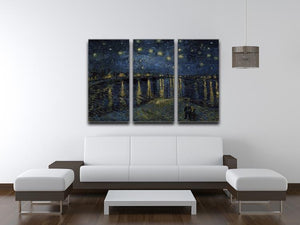 Starry Night over the Rhone 3 Split Panel Canvas Print - Canvas Art Rocks - 3