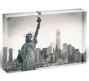 Statue of Liberty with cityscape Acrylic Block - Canvas Art Rocks - 1