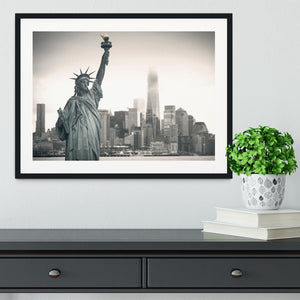 Statue of Liberty with cityscape Framed Print - Canvas Art Rocks - 1
