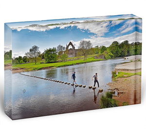 Stepping stones at Bolton Abbey Acrylic Block - Canvas Art Rocks - 1