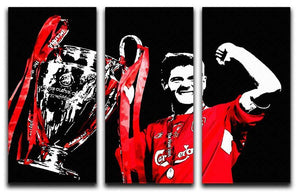 Steven Gerrard Champions League 3 Split Panel Canvas Print - Canvas Art Rocks - 1