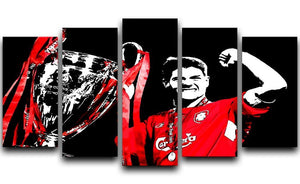 Steven Gerrard Champions League 5 Split Panel Canvas  - Canvas Art Rocks - 1