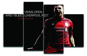 Steven Gerrard Liverpool Red 4 Split Panel Canvas  - Canvas Art Rocks - 1
