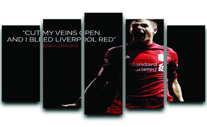 Steven Gerrard Liverpool Red 5 Split Panel Canvas  - Canvas Art Rocks - 1