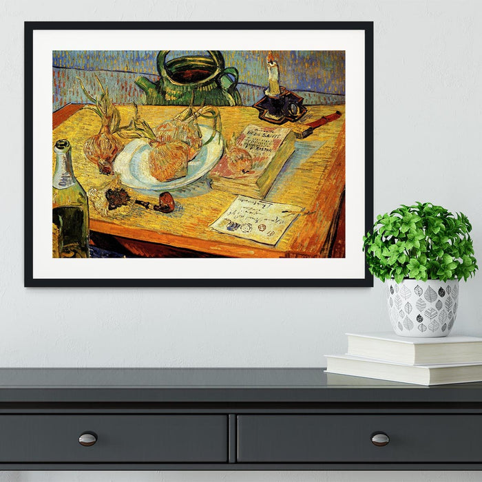 Still Life Drawing Board Pipe Onions and Sealing-Wax by Van Gogh Framed Print