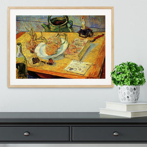 Still Life Drawing Board Pipe Onions and Sealing-Wax by Van Gogh Framed Print - Canvas Art Rocks - 3