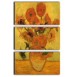 Still Life Vase with Fifteen Sunflowers 2 by Van Gogh 3 Split Panel Canvas Print - Canvas Art Rocks - 1