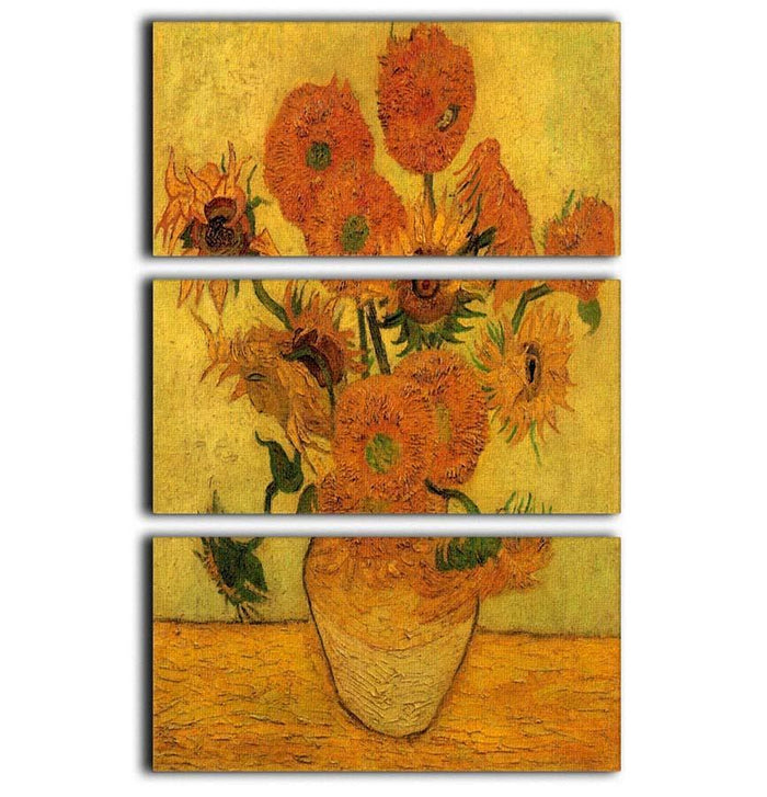 Still Life Vase with Fifteen Sunflowers 2 by Van Gogh 3 Split Panel Canvas Print