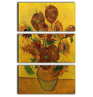 Still Life Vase with Fifteen Sunflowers by Van Gogh 3 Split Panel Canvas Print - Canvas Art Rocks - 1
