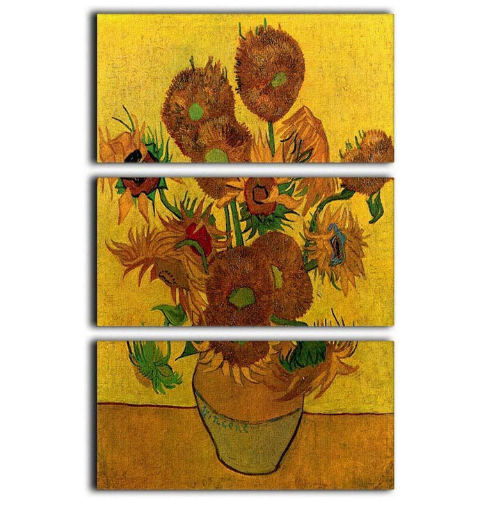Still Life Vase with Fifteen Sunflowers by Van Gogh 3 Split Panel Canvas Print