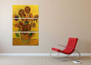 Still Life Vase with Fifteen Sunflowers by Van Gogh 3 Split Panel Canvas Print - Canvas Art Rocks - 2