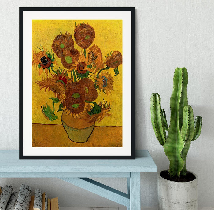Still Life Vase with Fifteen Sunflowers by Van Gogh Framed Print
