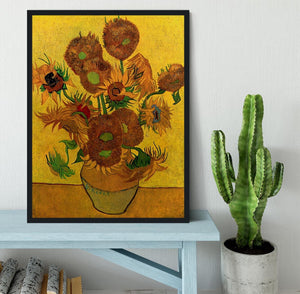 Still Life Vase with Fifteen Sunflowers by Van Gogh Framed Print - Canvas Art Rocks - 2