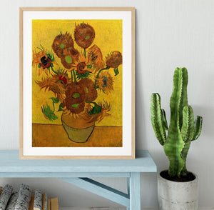 Still Life Vase with Fifteen Sunflowers by Van Gogh Framed Print - Canvas Art Rocks - 3