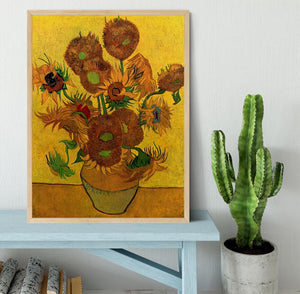 Still Life Vase with Fifteen Sunflowers by Van Gogh Framed Print - Canvas Art Rocks - 4