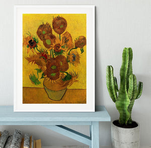 Still Life Vase with Fifteen Sunflowers by Van Gogh Framed Print - Canvas Art Rocks - 5