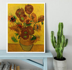 Still Life Vase with Fifteen Sunflowers by Van Gogh Framed Print - Canvas Art Rocks -6