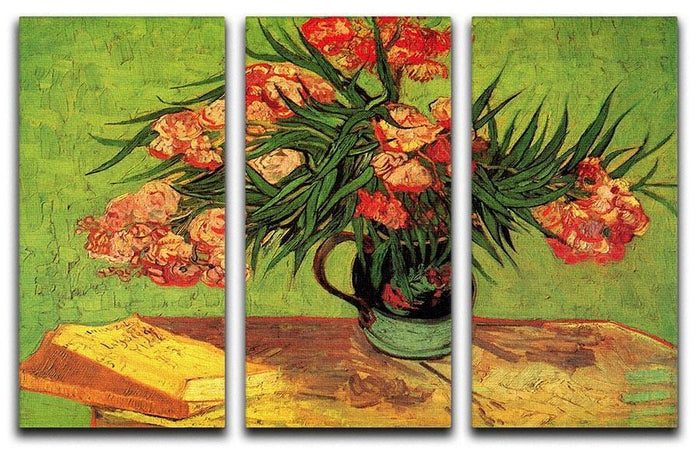 Still Life Vase with Oleanders and Books by Van Gogh 3 Split Panel Canvas Print