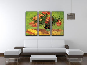 Still Life Vase with Oleanders and Books by Van Gogh 3 Split Panel Canvas Print - Canvas Art Rocks - 4