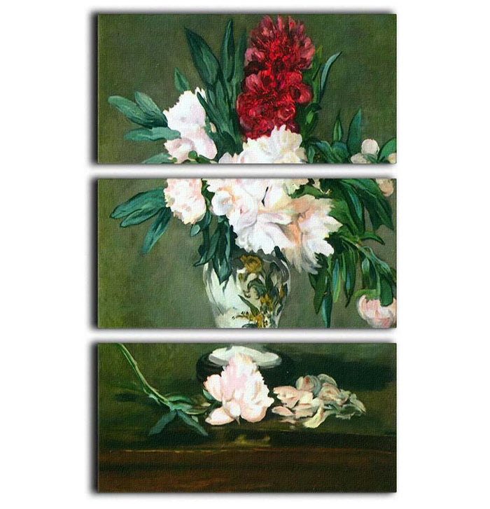Still Life Vase with Peonies by Manet 3 Split Panel Canvas Print